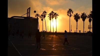 Half banner basketball sunset