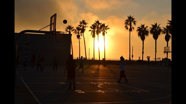 Subwide basketball sunset